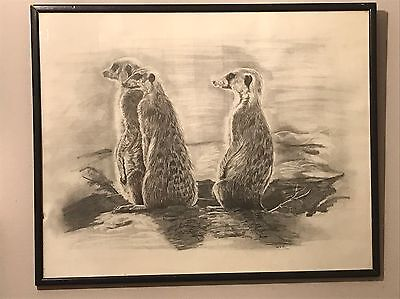Pencil Drawing Art Made By Prisoner In HMP Long Lartin Prison Vintage Picture