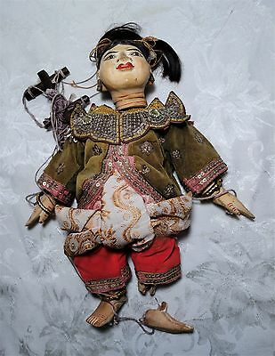 Asian Oriental Woman Marionette Puppet Handmade Doll Carved Wood Vintage