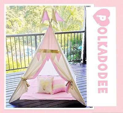 Kids Teepee, 2 Cushions And Playmat- Pink & Gold And Calico, Handmade