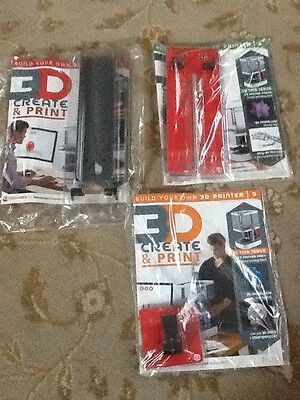 3D Create & And Print Make A Printer Parts 1 2 & 3 (3Issues) New & Sealed
