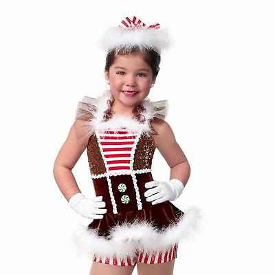 Dance Costume Large Child Gingerbread Holiday Solo Competition Pageant Glitz