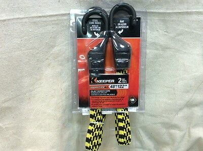 "Keeper 06104 Ultra 48"" Black/Yellow Flat Bungee Cord 2 Pack"