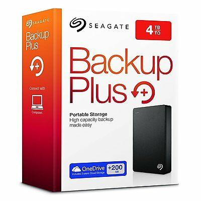 4TB Seagate 4 TB Backup Plus Portable Hard Drive Black USB 2 3 PC & Mac HDD Disk