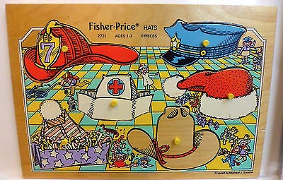 #2721 Hats * Vintage Fisher Price Pick-Up & Peek Wood Puzzle Quaker Oats Co.