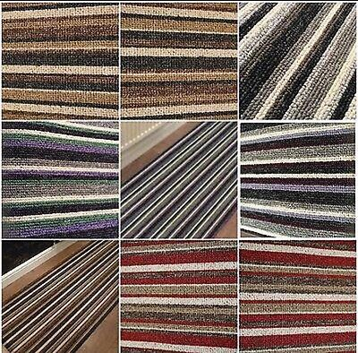 Made to measure carpet runner stair stripe cream red green black cut to size