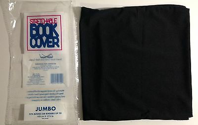 "NEW Stretchable Fabric Book Cover, Black, Jumbo, fits up to 10.5""x11.5"""