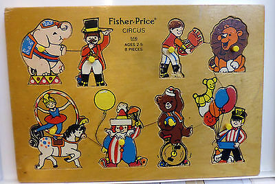 #516 Circus * Vintage Fisher Price Pick-Up & Peek Wood Puzzle Quaker Oats Co.