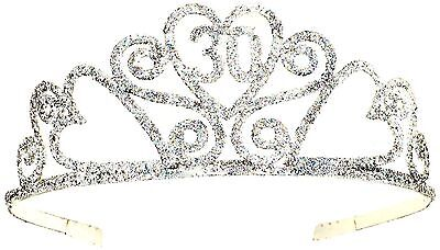 30th Birthday Glitter Tiara Sparkling Princess Crown Adult B-day Party NEW