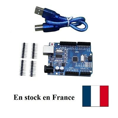 Arduino UNO R3 clone with Cable  USB ATmega328P CH340G Board Stock France