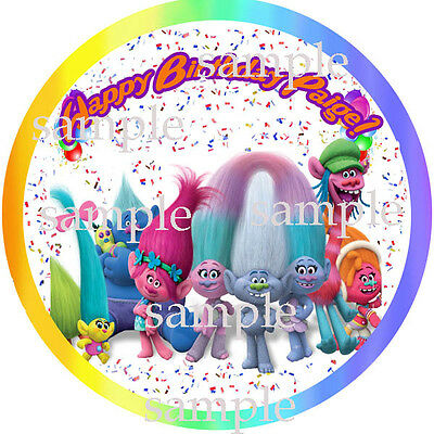 TROLLS Personalized Edible ICING Image Round CAKE Topper