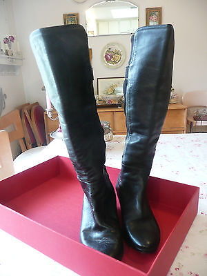 HoT Black Leather Cole Haan/Nike Air~Soft/Stretchy BOOTS! Size 8~TALL-Knee High+