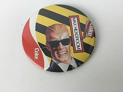 Vintage Max Headroom Coca Cola Pin Coke Button 80s 1980s