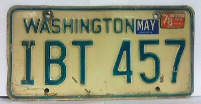 1978 WASHINGTON License Plate (IBT 457)
