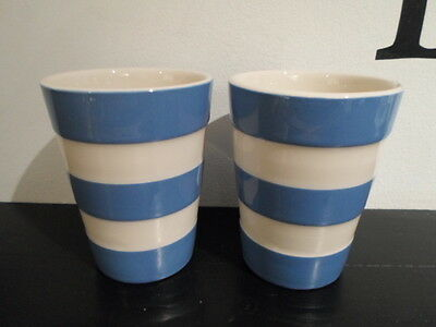 T G Green Cornish Blue Cornishware Pair Beakers Cups  Made In England Church