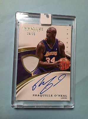 2014-15 panini immaculate shaquille shaq o'neal on card auto patch 29/75 lakers