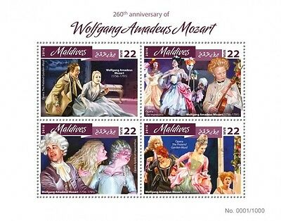 Z08 IMPERFORATED MLD16408a MALDIVES 2016 Wolfgang Amadeus Mozart MNH