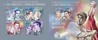 CA14105ab Central Africa 2014 Joe DiMaggio and Marilyn Monroe MNH SET