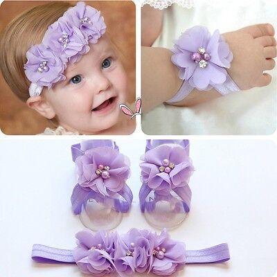 Foot Baby Cute Headband+Flower Barefoot Sandals Toe Blooms Girl Hairband