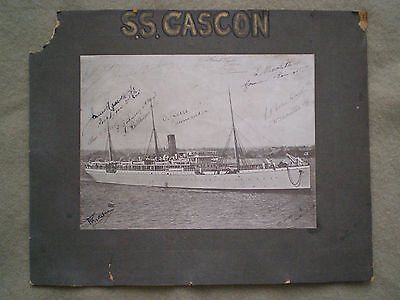 Rare 1890s to WW1 LITHO-PHOTOGRAPH of SS GASCON with SIGNATURES of CREWMEN
