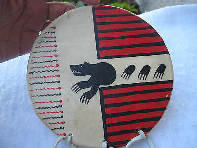 Native American Indian Vintage Unsigned Painted Sacred Bear Drum