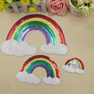 Sequin Embroidered Sew on Patches Badge Dress Applique Fabric Rainbow Cloud DIY