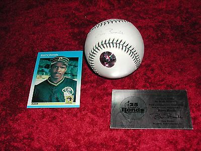 Barry Bonds Authenticated Autograph Ball on 2001 All-Star Game Ball + 1987 RC-MT