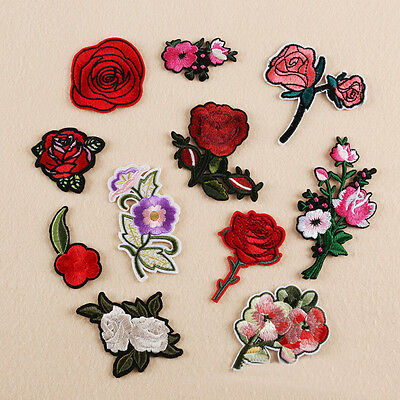 Embroidered Sew Iron on Patches Badge Bag Dress Applique Cloth Rose Flower Craft