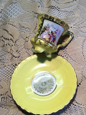 Vintage Austria Victoria Courting Couple Demitasse Footed Cup and Saucer