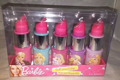 Barbie Doll`icious 5 Day Bath and Shower Gels 5x 30ml Girl`s Birth Xmas Gift Set