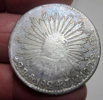 "1824 J.M (MEXICO ) 2 REALES -- ""HOOK NECK EAGLE ( RARE ) --ONE YEAR-very scarce-"