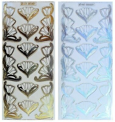 EMBOSSED TULIP CORNERS Peel Off Stickers Flower Border Gold or Silver on Clear
