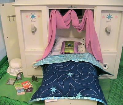 American Girl Doll 3 in 1 Murphy Bed with Accessories and Bedding AS IS