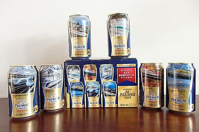 Japanese SHINKANSEN Suntory Beer Can Set of 6 with box.Top Sealed. Bullet train