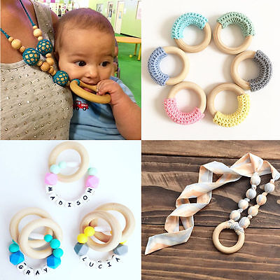 5pcs 55mm Crafts DIY Baby Teething Natural Wooden Rings Necklace Bracelet New