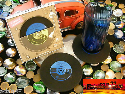 ♫ 2 Coaster Mug Vinyl Record Silicone For Your Drink Favorite Blue ♫