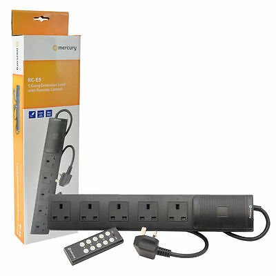 New 5 Way Remote Control Extension Lead 5 Gang 2m Surge Protector - Black Disco