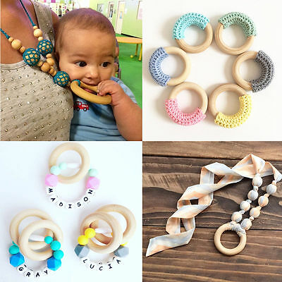 5pcs 70mm Baby Natural Wooden Teething Rings Necklace Bracelet DIY Crafts New