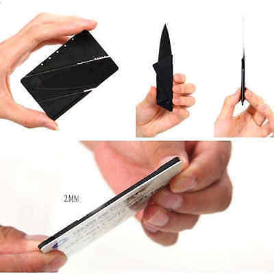 1PC Stainless Steel Folding Card Knife Mini Wallet Camping Outdoor Pocket Tool