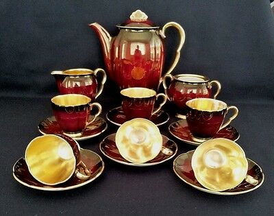 "Carlton Ware Royal Rouge 15Pc  ""coffee Set"" C1950S"