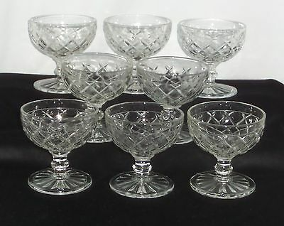 "8 Hocking WATERFORD/WAFFLE CRYSTAL *3 1/2"" SHERBETS*"