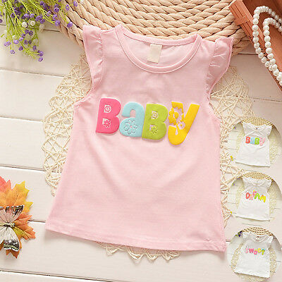 Toddler Baby Kid Girls Cotton Top T-shirt Casual Tee Shirt Blouse Tops Clothes