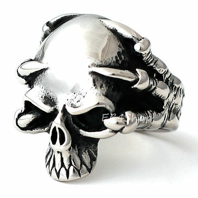 Stainless Steel Skull Demon Skeleton Claw Ring Punk Gothic Biker Band Jewelry