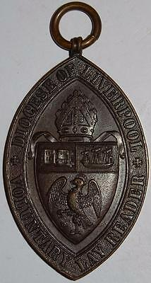 LIVERPOOL DIOCESE VOLUNTARY LAY READER MEDAL copper 42x70mm