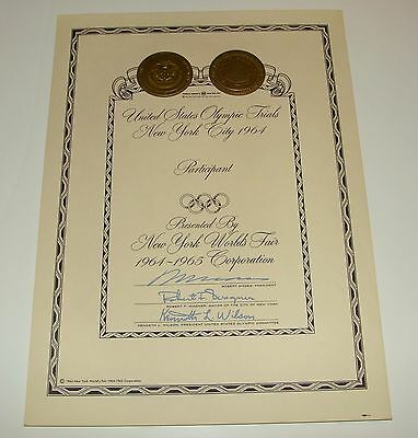 1964 1965 New York World's Fair - Olympic Trials Certificate -- Nywf