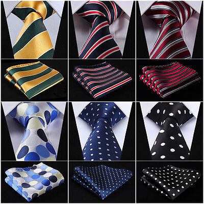"Striped 3.4"" Silk Fashion Mens Extra Long Tie XL Necktie Handkerchief Set #Q7"