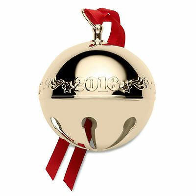 2016 WALLACE Gold Plated Sleigh Bell Ornament 27th Edition...FAST SHIP!