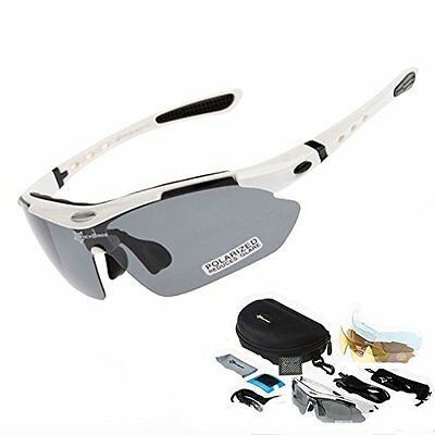 White Frame Cycling Glasses Men Women Polarized Sport Road MTB Mountain Bike w/