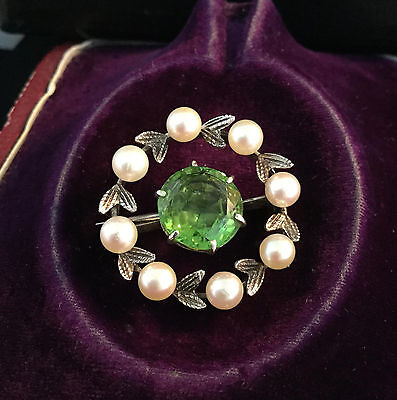 Antique, Exquisite Art Deco 9ct, 9k, 375 Gold Peridot & Pearl brooch, C1920