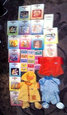 Lot of 14 Vintage Teddy Ruxpin Matching Books & Cassette Tapes sets  & clothes