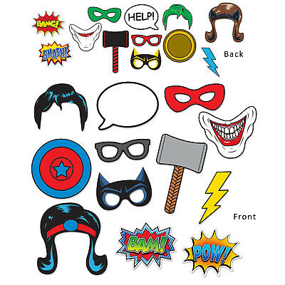 Super Hero Comic Book PHOTO FUN SIGNS PROPS Birthday Party Pictures